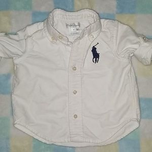 RALPH LAUREN baby boy white button-down w/ 💙 pony